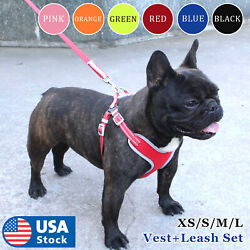 USA Reflective Dog Vest Harness Leash Collar Set No Pull Adjustable for XS L $11.98
