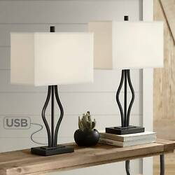 Modern Table Lamps Set of 2 with USB Port Black Rectangular Shade Living Room $119.99