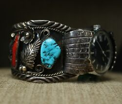 Vintage Native American Navajo Turquoise Sterling Watch Cuff Bracelet Large Size