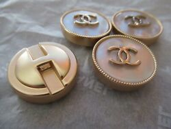 Chanel 4 buttons  22mm lot of 2 mother of pearl gold tone cc logo lot 4 $59.00