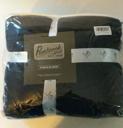 Pembrook Reversible Plush Coral Micro with Sherpa Shearling Fleece Blanket Navy $12.76