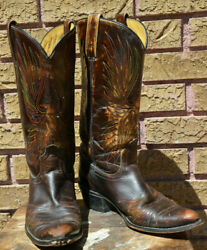 Vintage ACME Cowboy Boots Eagle Flame Stitching Womens 8A Rooster Peacock TEAR $24.99