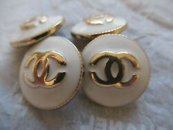 Chanel 4 cc buttons  WHITE  GOLD TONE METAL 20mm lot of 4 good condition  $44.00