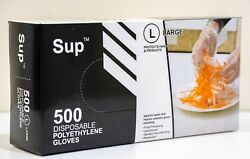 500 x Clear Transparent Poly Gloves Powder Free Non Latex Non Sterile L $10.85