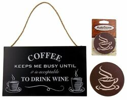 Kitchen Coffee Keeps Me Busy Drink Wine Sign Home Auto Stone Coaster Gift Set 3 $3.79