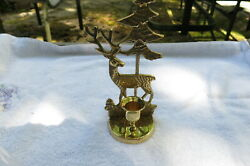 Vintage Brass Reindeer Candle Holder 8 Inch $10.00