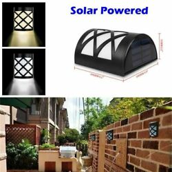 Solar Power Wall Mount Light 6 LED Outdoor Garden Path Way Fence Yard Patio Lamp