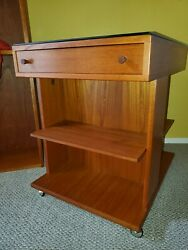 Vintage Mid-Century Modern Scandinavian Teak Storage Table Cart $250.00