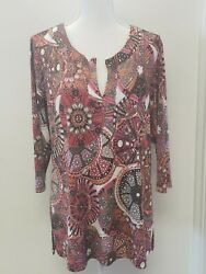 Robert Kitchen Canada Multi Color V Neck 3 4 Sleeve Tunic Top Size Large $16.00