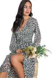 KImnKrys Olive Animal Print Chiffon Long Sleeve Maxi Dress Large $24.99
