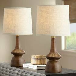 Mid Century Modern Table Lamps Set of 2 Walnut Wood for Living Room Bedroom $99.90
