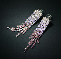 Sevil 18K White Gold Plated Chandelier Earrings Made With Lab Created Crystals $6.99
