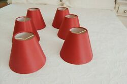 Red Fabric Covered Small Clip on Lamp Shades 6 $10.00