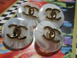 💋💋💋💋 Chanel 4 cc buttons WHITE GOLD TONE  24mm lot of 4 good condition💋💋💋 $49.50