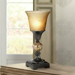 Traditional Uplight Table Lamp Dark Bronze Alabaster Glass Shade for Bedroom $29.99