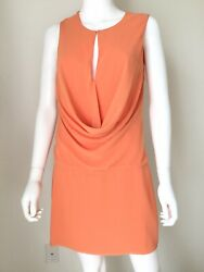 Black Halo Orange Dress Sleeveless Shift Dress Sz 8 M