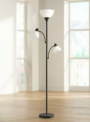 Modern Torchiere Floor Lamp Bingham Black White Shades For Living Room Reading $59.99