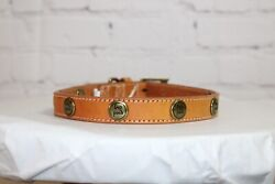 Adjustable 16quot; 20quot; Leather Dog Collar Studded quot;Good Dogquot; Light Tan $10.00
