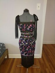 TADASHI SHOJI Women's Floral Embroidered Gown Dress Midi Length Size 2