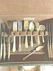 GORHAM HUNT CLUB STERLING SILVER FLATWARE SET WITH SERVERS NO MONOS $950.00