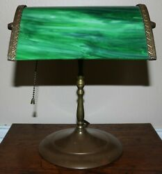 Antique Brass Bankers Desk Piano Student Table Lamp w Original Slag Glass Shade $39.99
