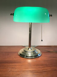 Vintage Brass Style Piano Bankers Desk Lamp Green Glass Shade Art Deco $11.50