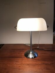 VINTAGE PIANO BANKERS DESK LAMP WHITE SHADE SILVER NICKEL FRAME $19.99