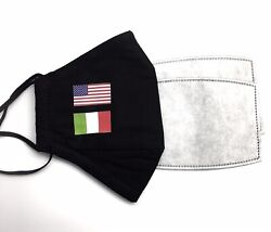 US amp; ITALY FLAG Designer Black Reusable Face Mask With 2 Filters