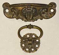 Antique Lyre Musical Instrument Desk Cup Pull & Brass Ring Drawer Cabinet Handle $19.99