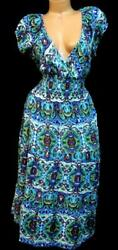 Mlle gabrielle multicolor paisley print ruched waist sleeveless maxi dress 1X $6.50