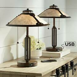 Mission Desk Lamps Set of 2 with USB Rubbed Bronze Mica Shade for Bedroom Office $399.98