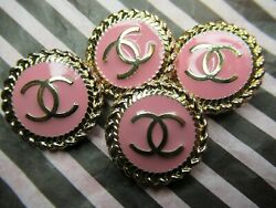 💋💋Chanel 4 gold tone cc pink buttons 20mm lot of 4 good condition stamped💋💋  $49.00
