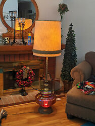 Mid Century Antique Floor Lamp With 22quot; Glass Table amp; 15quot; Globe that Lights Up  $475.00