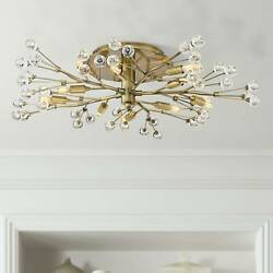 Modern Ceiling Light Semi Flush Mount Fixture LED Brass 27 1 2quot; Crystal Bedroom $269.99