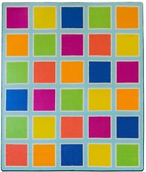 Deerlux Colorful Kids Classroom Seating Area Rug Multicolor Blocks 8 x 10 ft $370.04