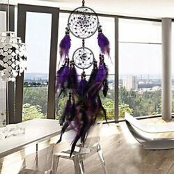 Handmade Purple Dream Catcher Feather Wall for Car Home Hanging Ornament Decor. $10.29
