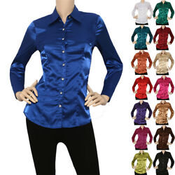 IRON PUPPY Satin Charmeuse Button Down Shirts Blouse S 3XL US Seller $19.99