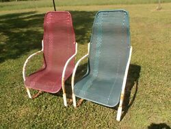 2 vintage Lloyd Loom Porch Patio Chairs BOUNCE CHAIR Greyhound shipping $475.00