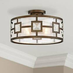 Modern Ceiling Light Semi Flush Mount Fixture Gold 16quot; Organza Crystal Bedroom $199.99