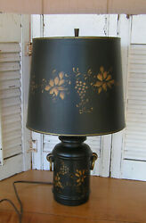 Vintage Black amp; Gold Tole Ware Ceramic Table Lamp with Original Tole Shade $62.00