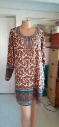 Multi-coloured kaftanbeach cover-up with studs. $3.27