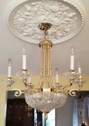 AUTHENTIC Waterford Crystal Brass Beaumont Chandelier French Empire Style 9 Lite $1662.50