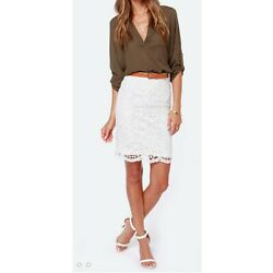 Ann Taylor LOFT Womens Crochet Lace Pencil Skirt Size 6 Ivory White Scallop Hem $20.99