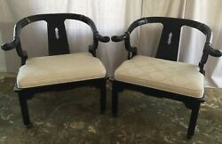 Pair Of Ming Style Horseshoe Asian Chairs 1960's Vintage Century Furniture $595.00