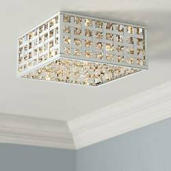 Modern Ceiling Light Flush Mount Fixture LED Chrome 15quot; Crystal Bedroom Kitchen $219.99