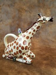 Blue Sky Hand Painted Giraffe Ceramic Tea Pot With Lid Signed 2009 $49.95