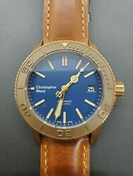 CW Christopher Ward C60 Trident Pro 600 Bronze - 38mm Blue - WARRANTY -  Rare! $700.00