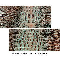 Embossed Leather Crocodile Turquoise Brown Leather Sheets for Wallets Bags $11.89