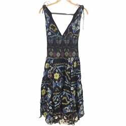 Free People FP One Dress Womens Small Black Floral Print Smocked Wisteria V neck $49.99