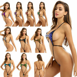 US Women Lingerie Swimwear Mermaid Micro One Piece Bikini G string Thong Monokin $6.65